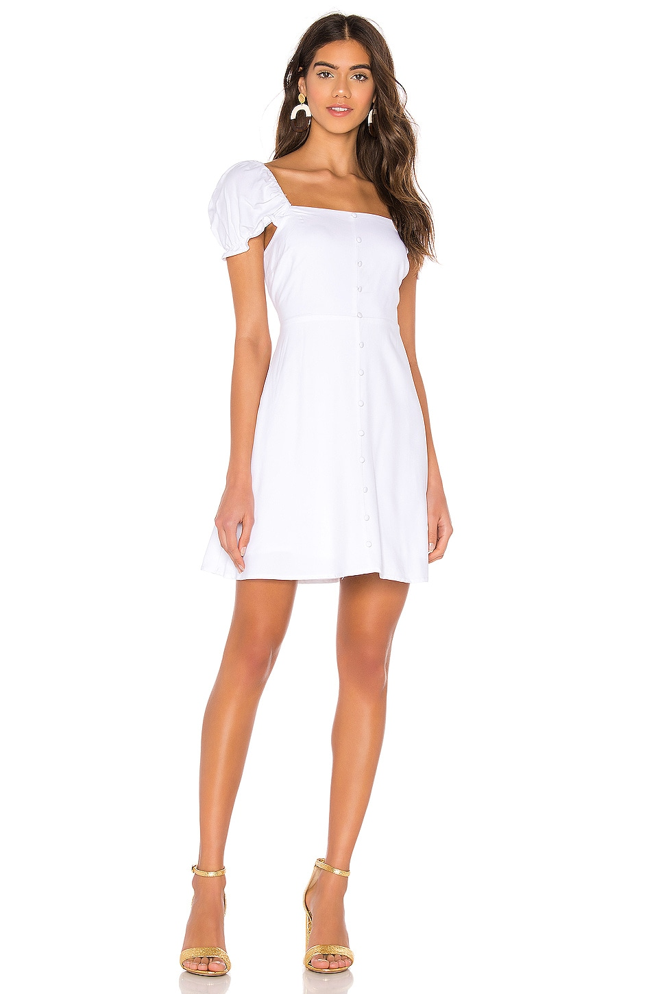 Line & Dot Mini Dress in White