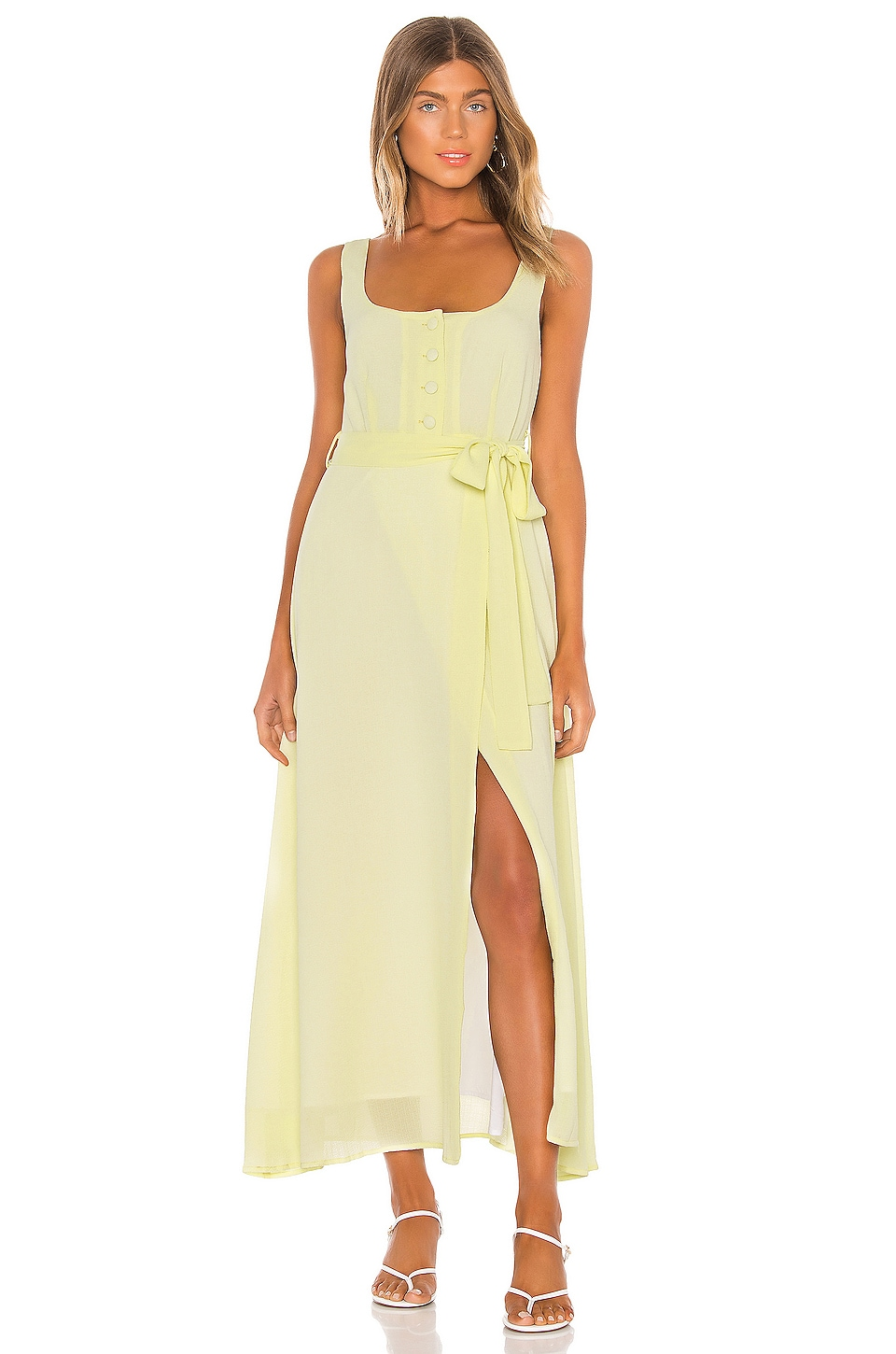 Line & Dot Ray Midi Dress in Lemon