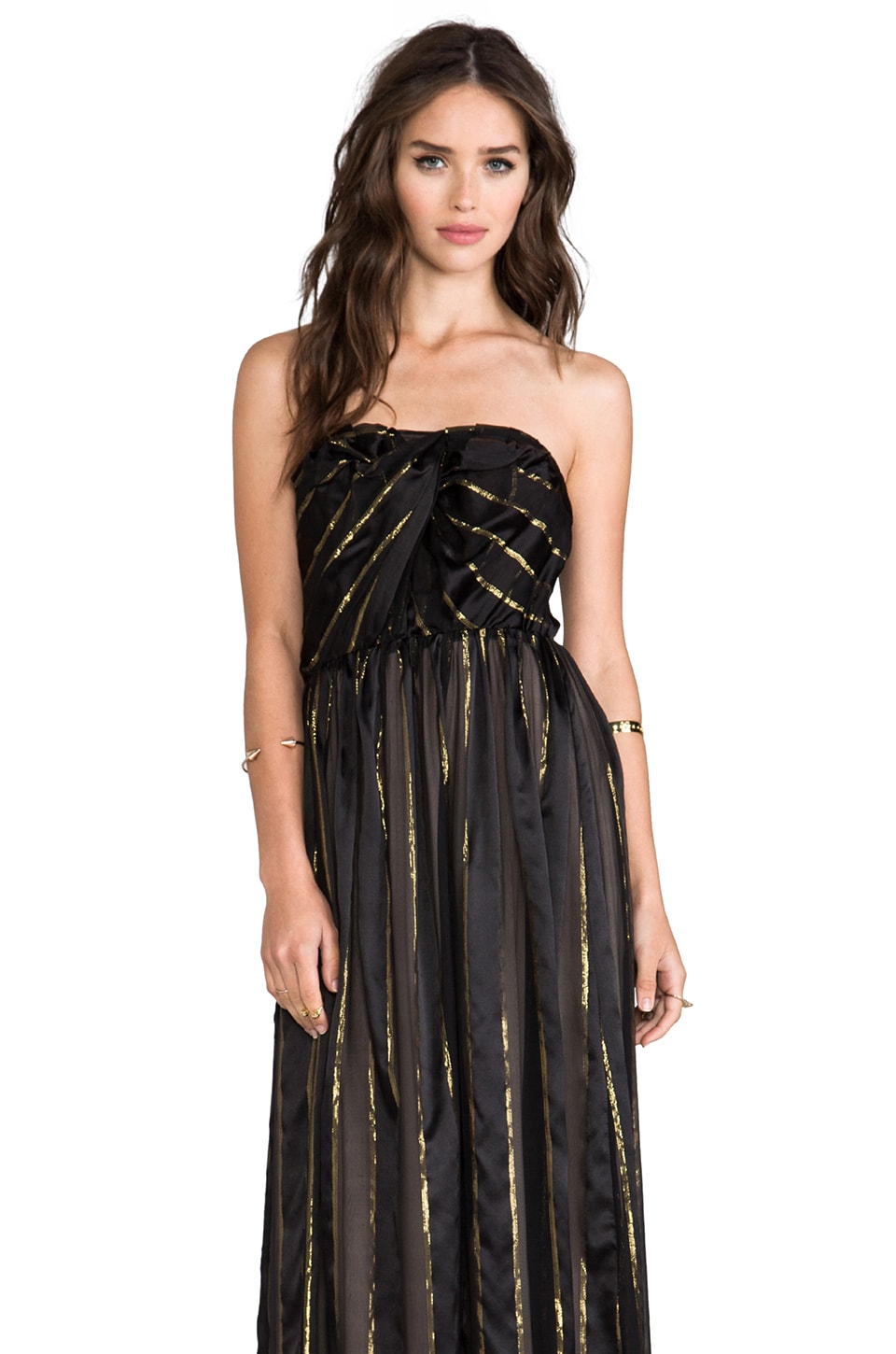 Line & Dot Lurex Stripe Tube Dress in Black