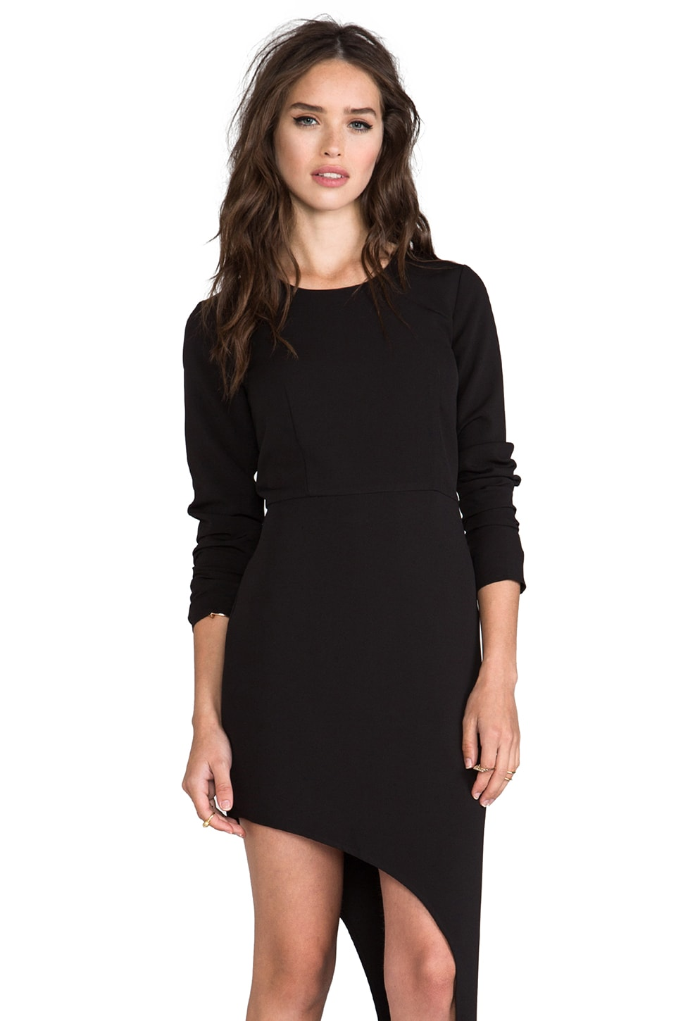 Line & Dot Asymmetry Hem Dress in Black