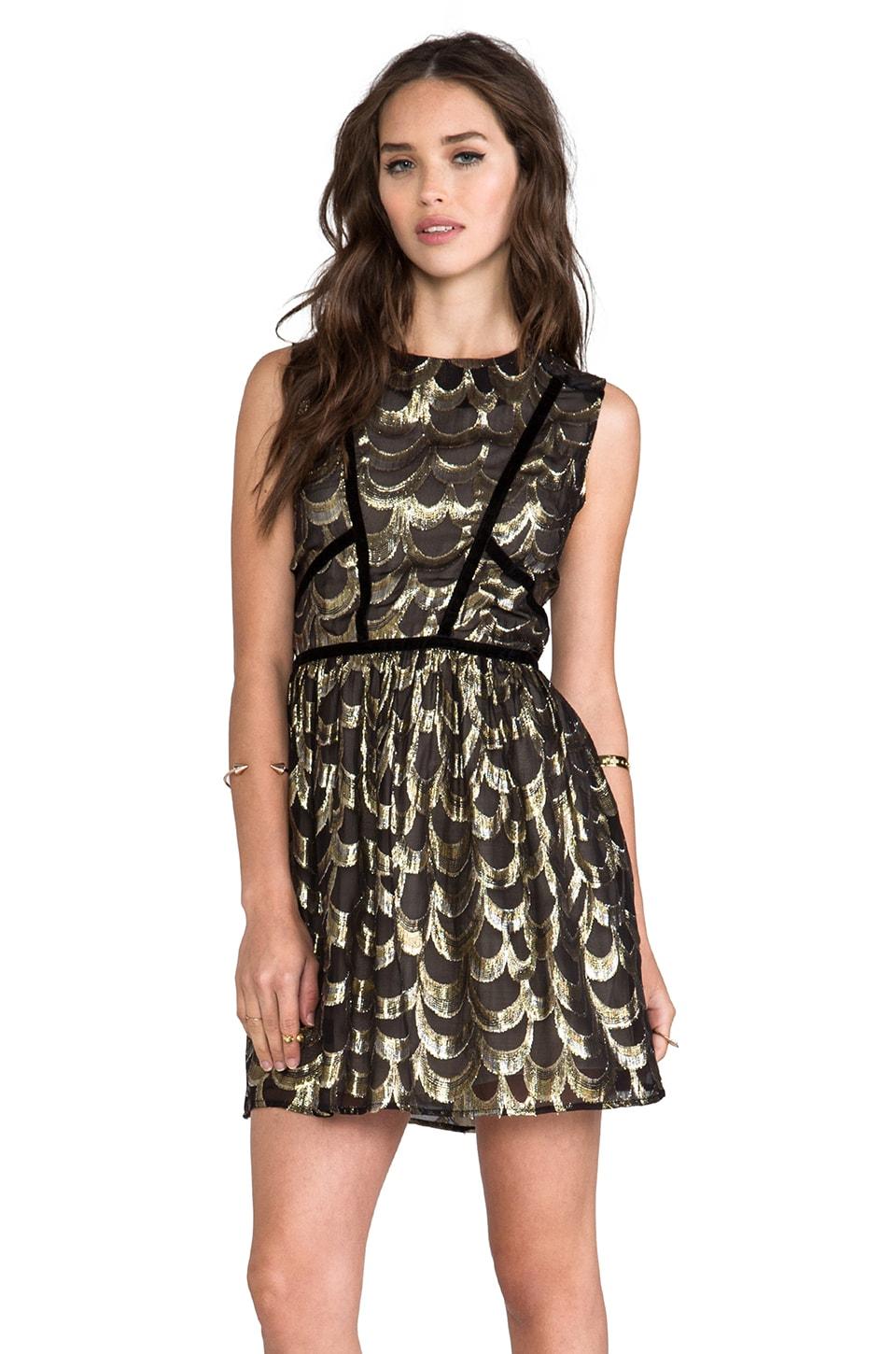 Line & Dot Velvet Binding Rulex Dress in Black/Gold