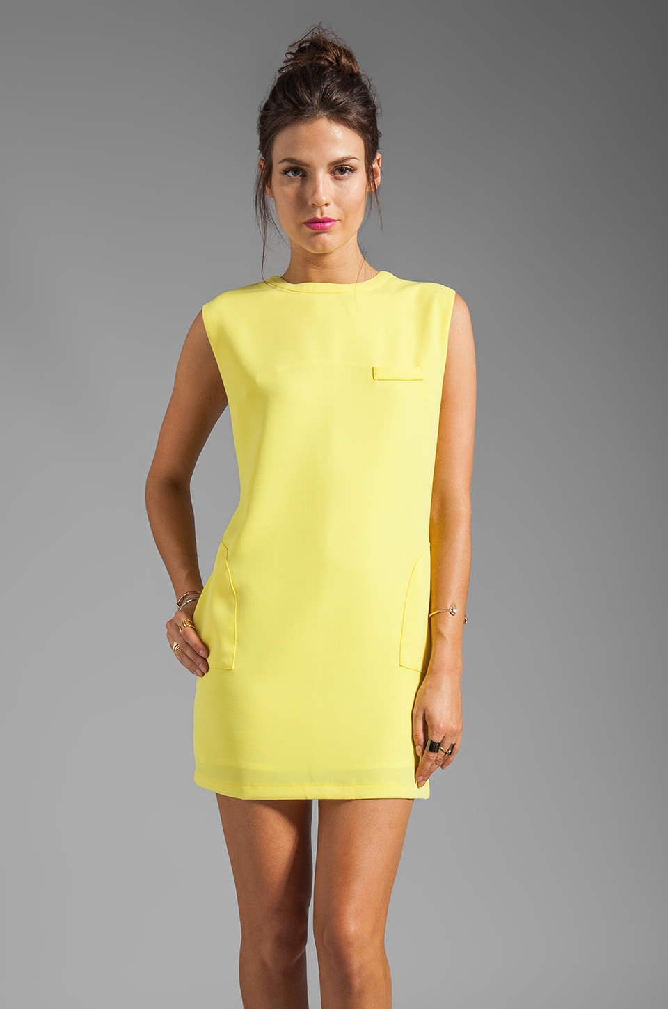 Line & Dot Shift Dress in Lemon