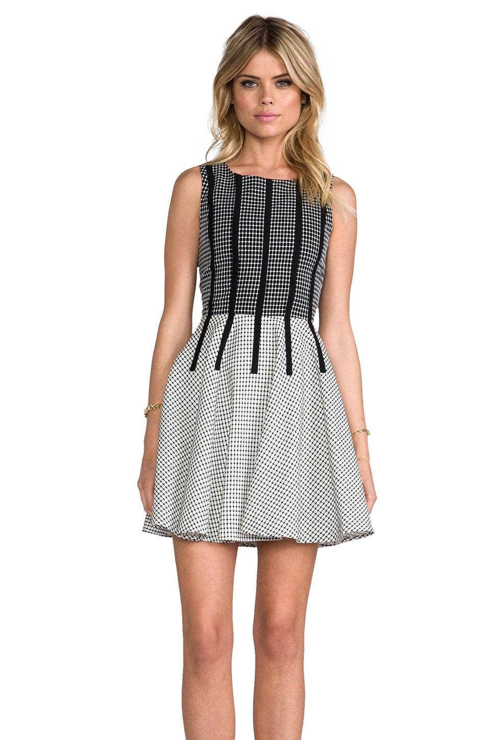 Line & Dot Binding Detail Dress in Grid Black