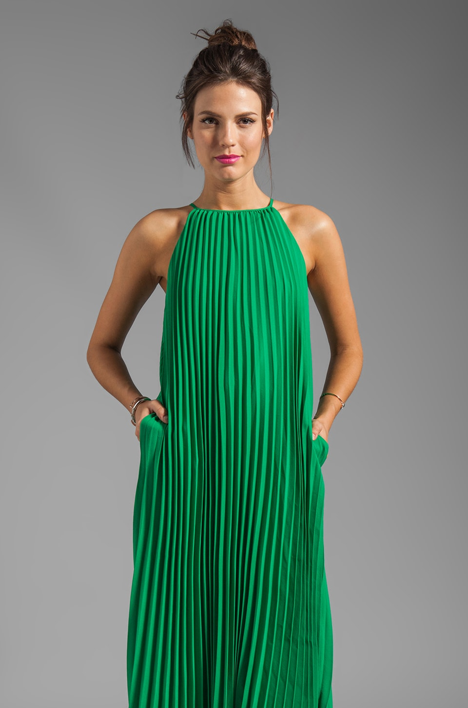 Line & Dot Pleated Maxi Dress in India Green