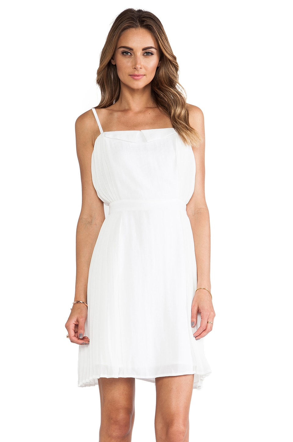Line & Dot Linen Side Pleated Dress in White