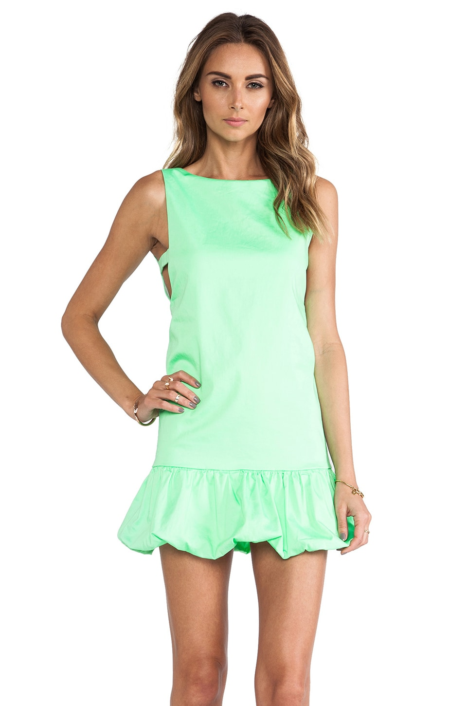 Line & Dot Deep V Bubble Dress in Neon Lime
