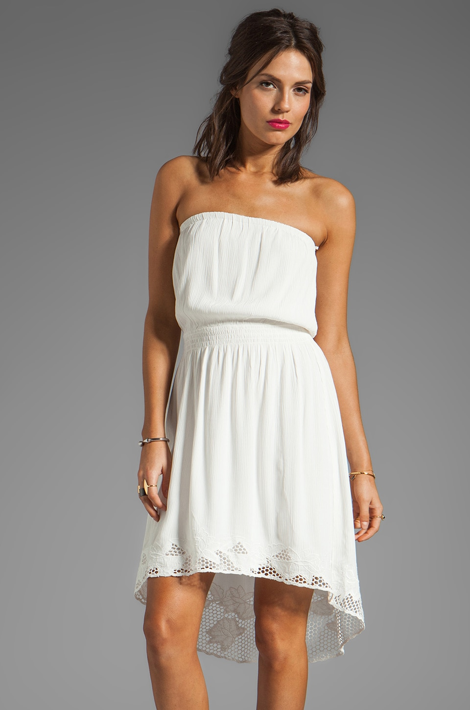 Line & Dot Strapless Dress in White