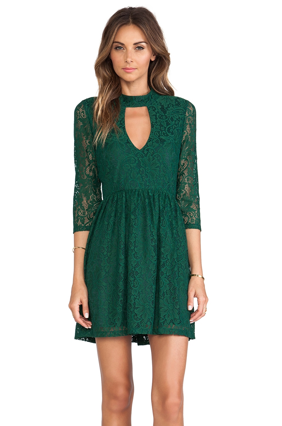 Line & Dot Moore Keyhole Lace Dress in Pine