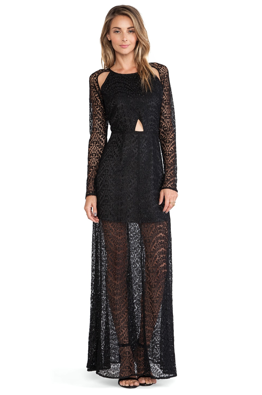 Line & Dot Love Lace Maxi Dress in Black