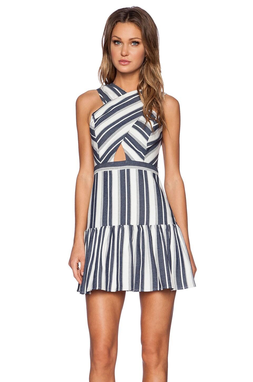 Line & Dot Dimension Dress in Blue Stripe Effect