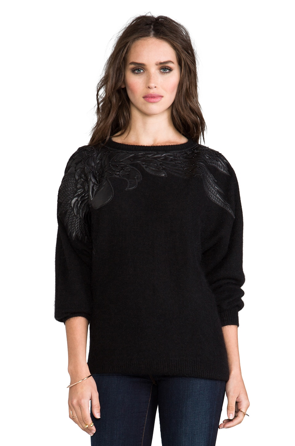 Line & Dot Bird Applique Angora Sweater in Black