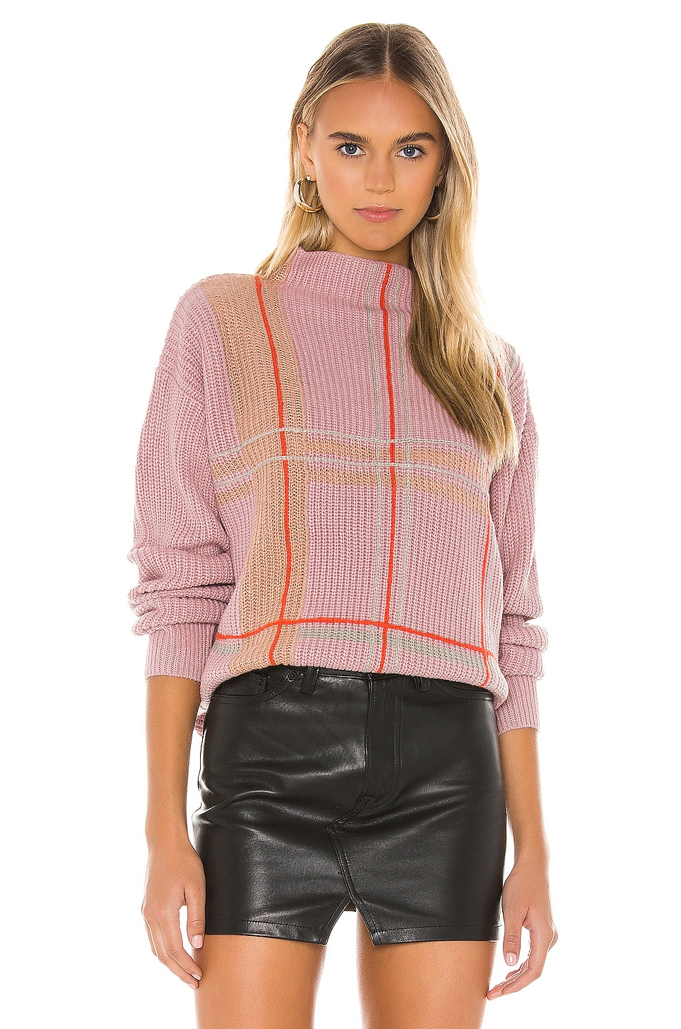 Line & Dot Violet Checkered Sweater in Lilac