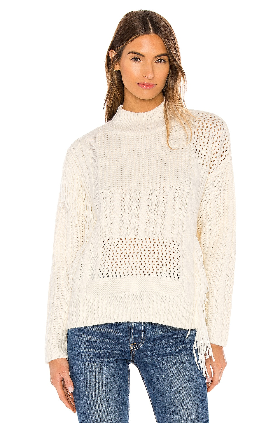 Line & Dot Thea Distressed Sweater in Ivory