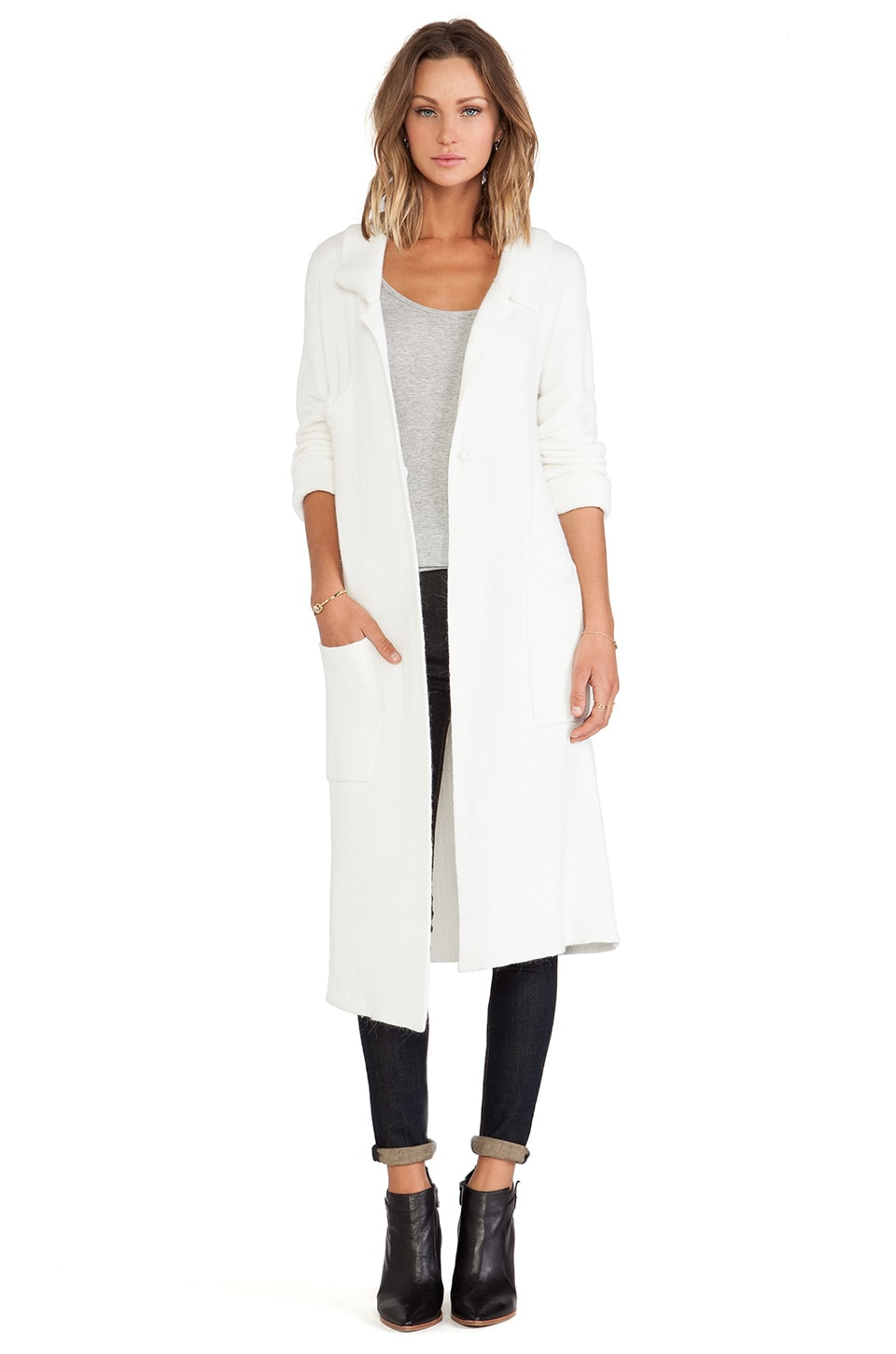 Line & Dot Chloe Long Coat in White