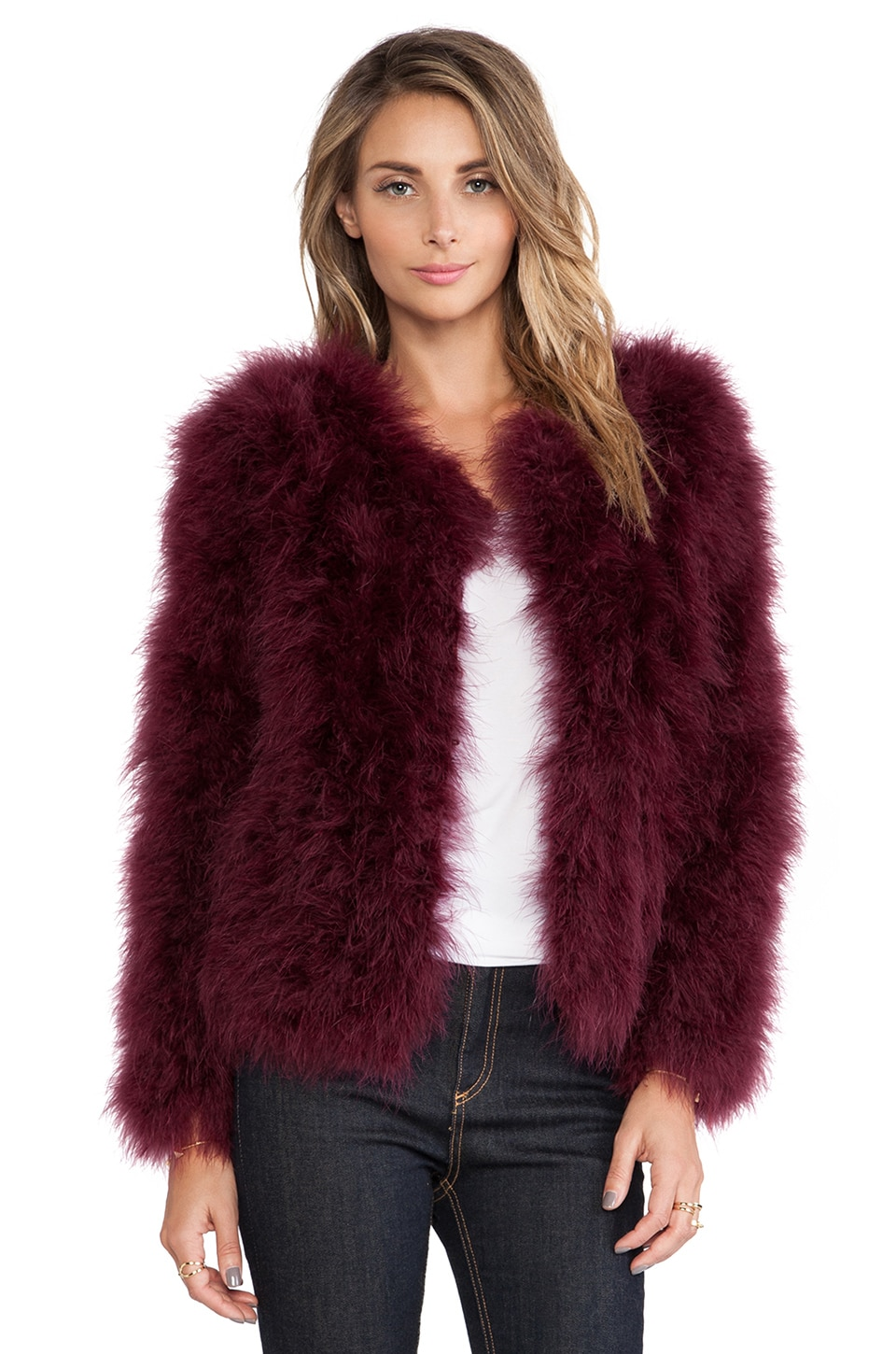 Line & Dot Angelina Feathers Jacket in Burgundy