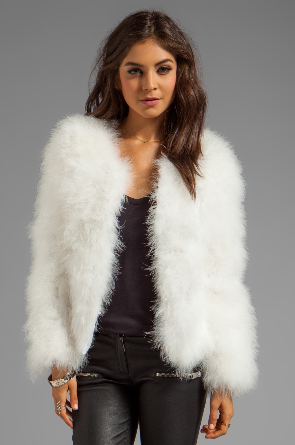 Line & Dot Marabou Faux Fur Jacket in White