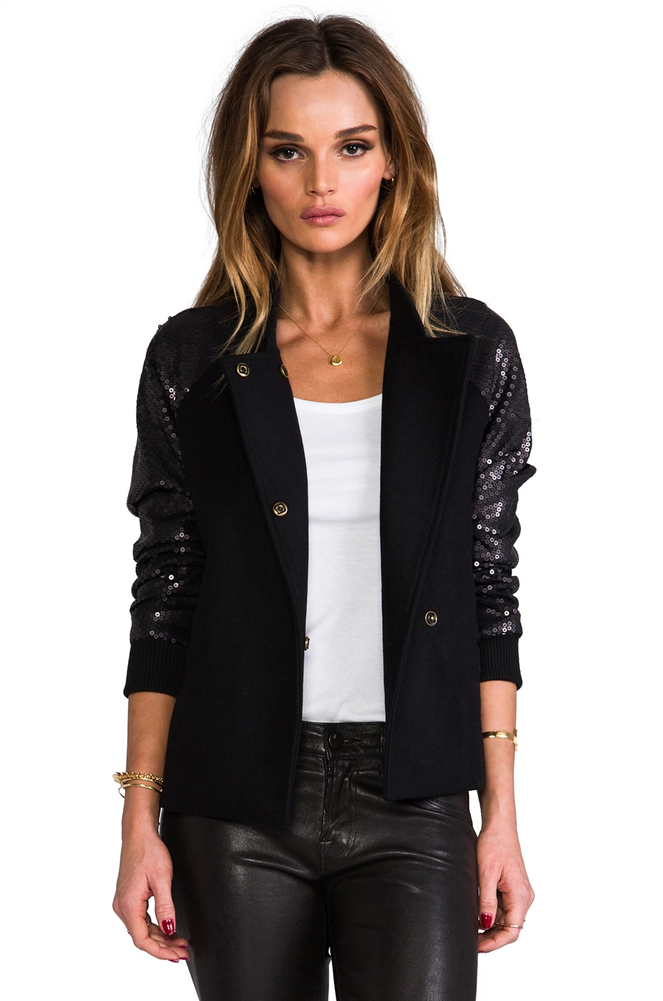 Line & Dot Sequin Contrast Varsity Jacket in Black