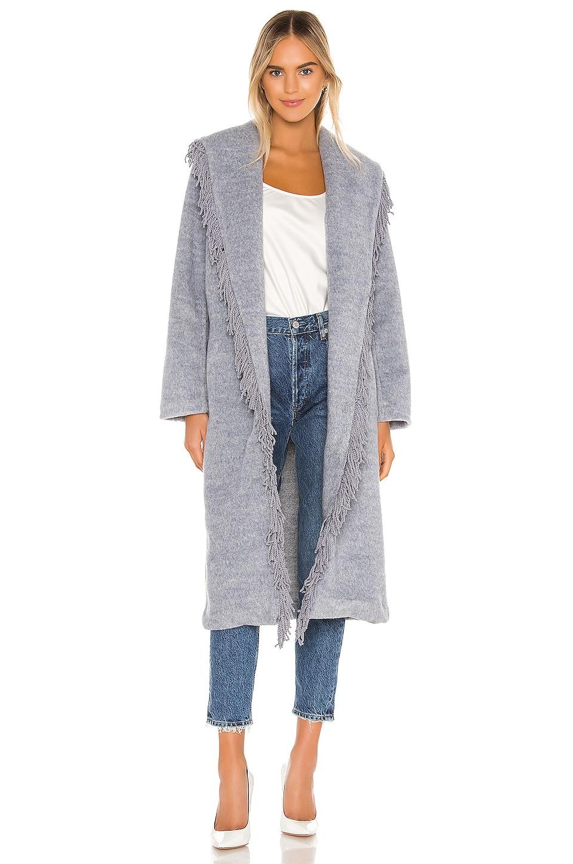 Line & Dot Linda Fringe Coat in Denim Melange