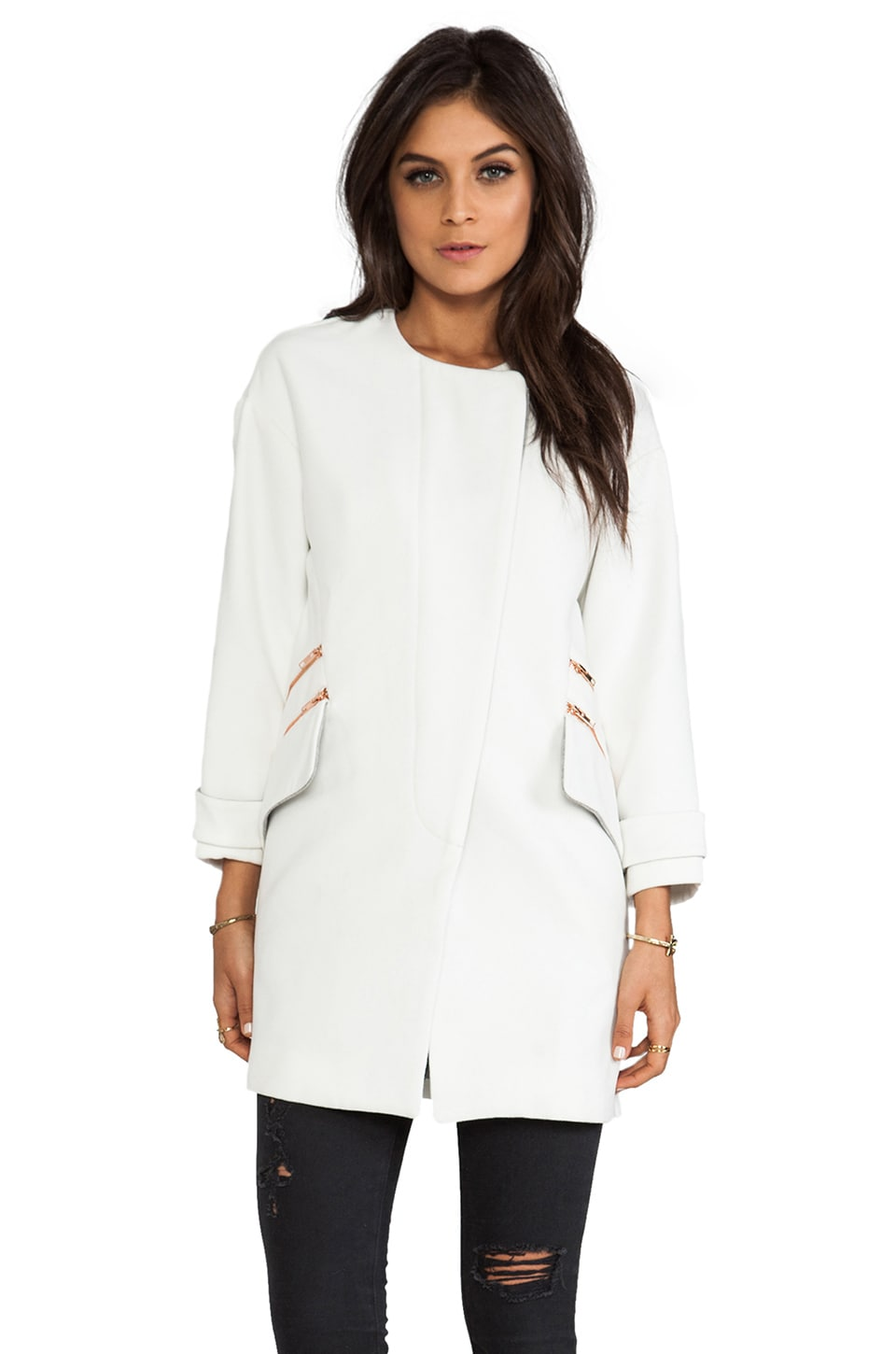 Line & Dot Cocoon Half Coat in White