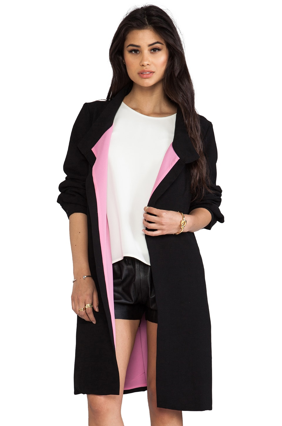 Line & Dot Draped Tailored Coat in Black