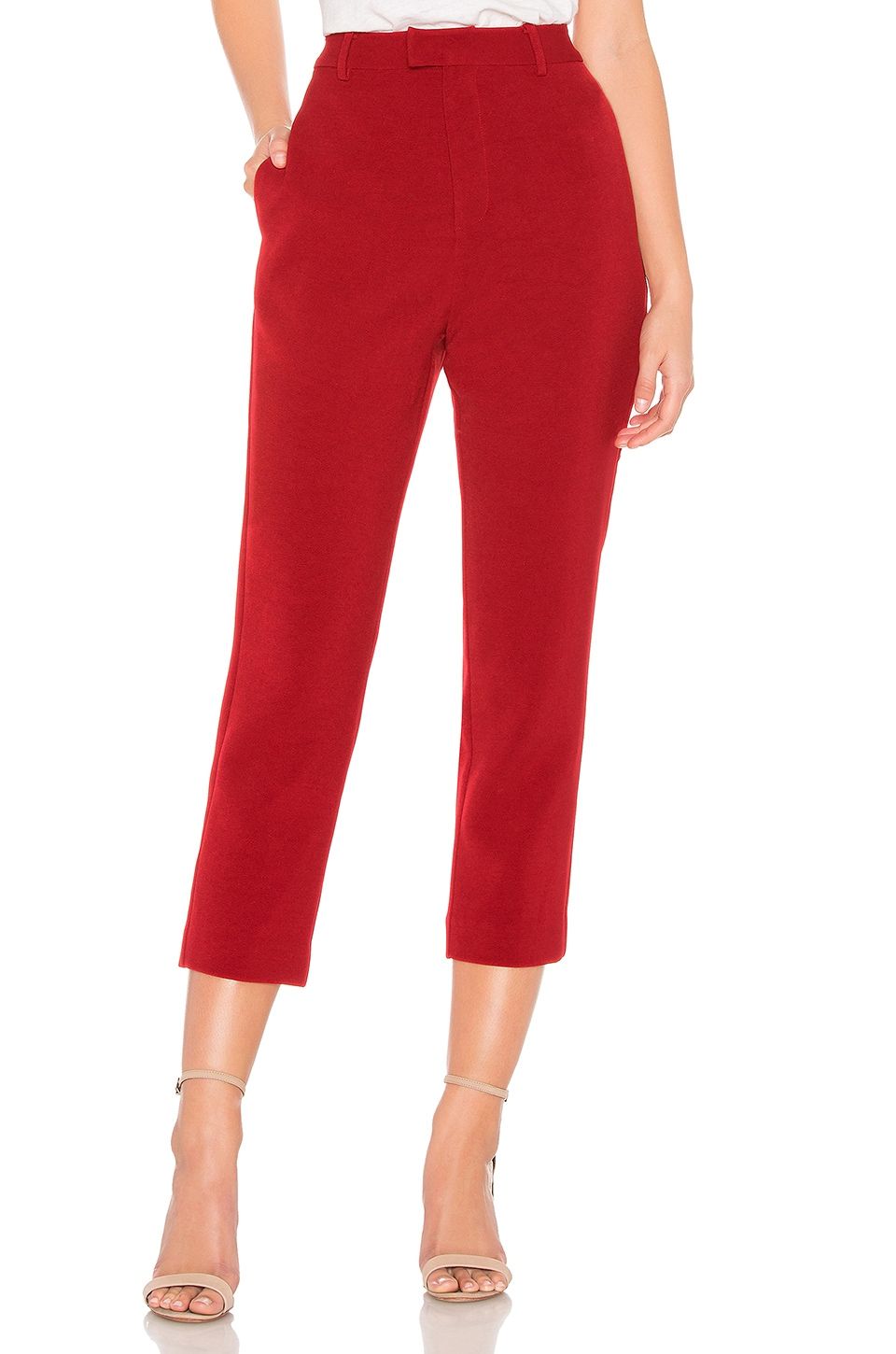 Line & Dot Rosey Cropped Pant in Red