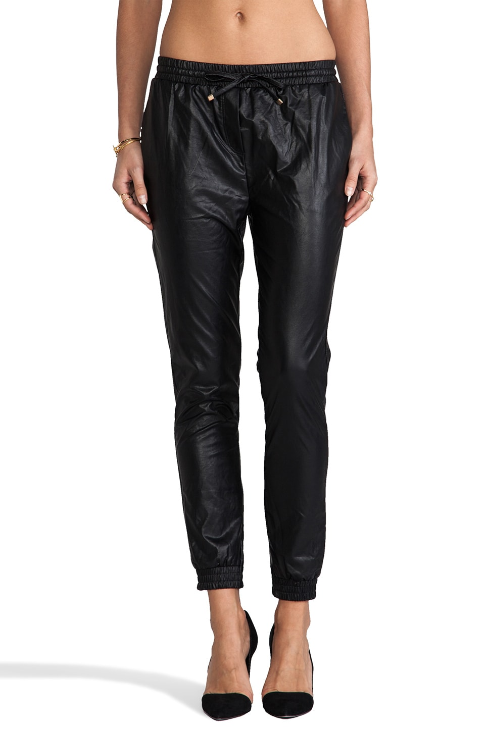 Line & Dot Faux Leather Trackies in Black