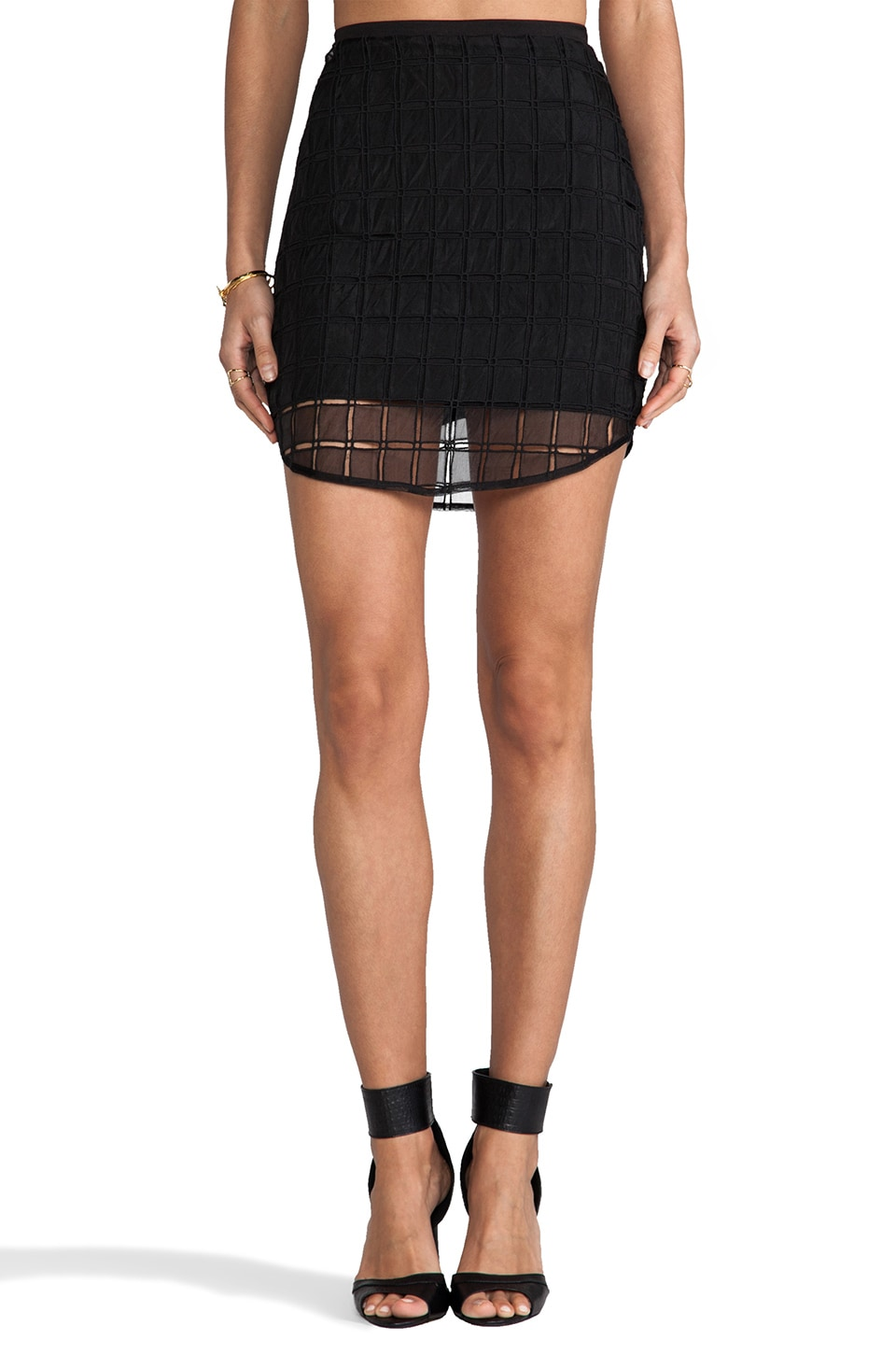 Line & Dot Organza Contrast Skirt in Black
