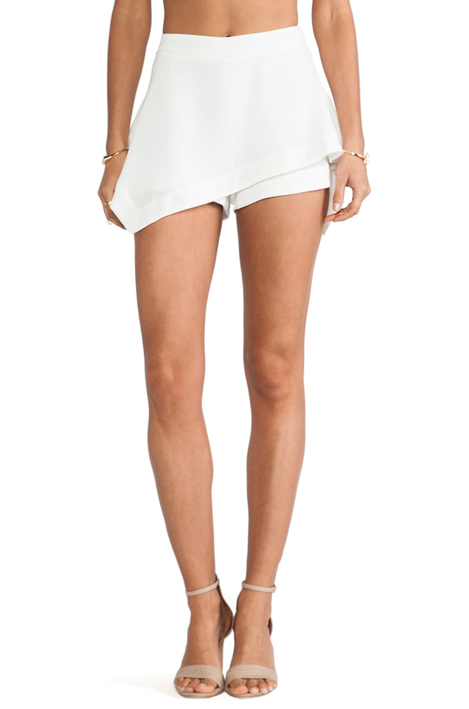 Line & Dot Asymmetry Flare Skirt in White