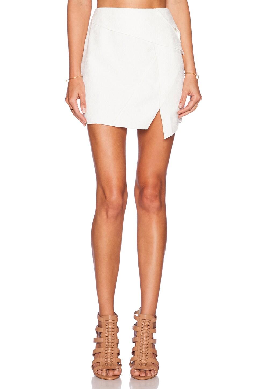 Line & Dot Gravity Asymmetrical Skirt in White