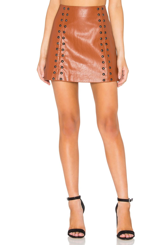 Line & Dot Stud A-Line Skirt in Bourbon