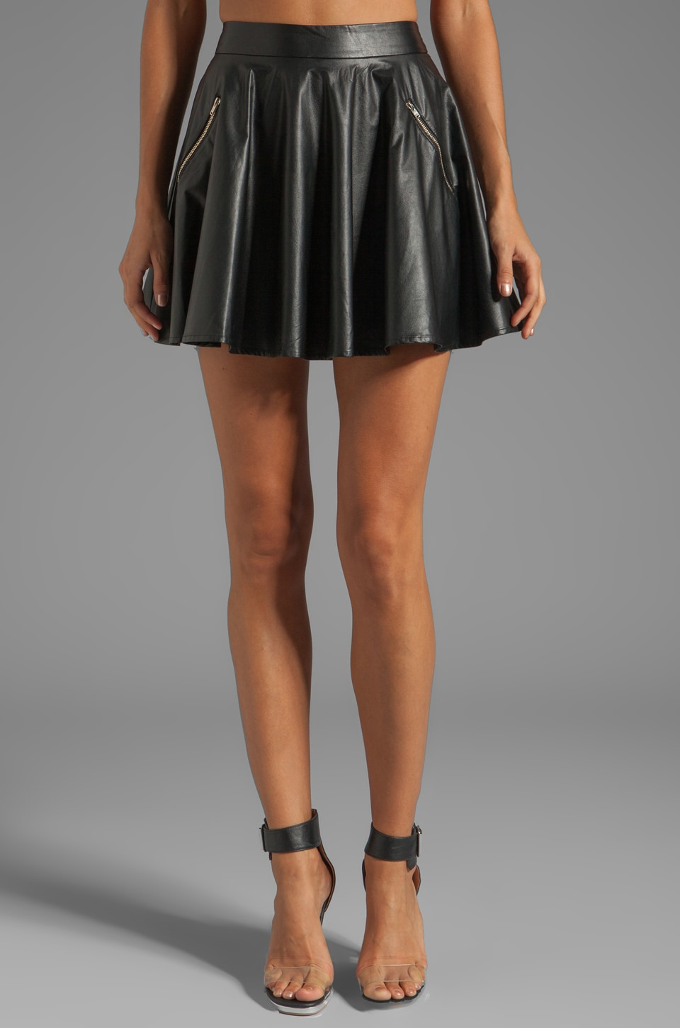 Line & Dot Faux Leather Circle Skirt in Black | REVOLVE