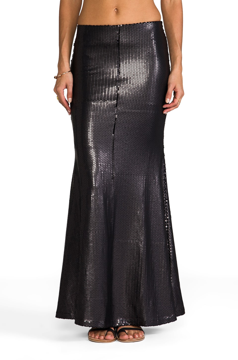 Line & Dot Matte Sequin Mermaid Skirt in Black