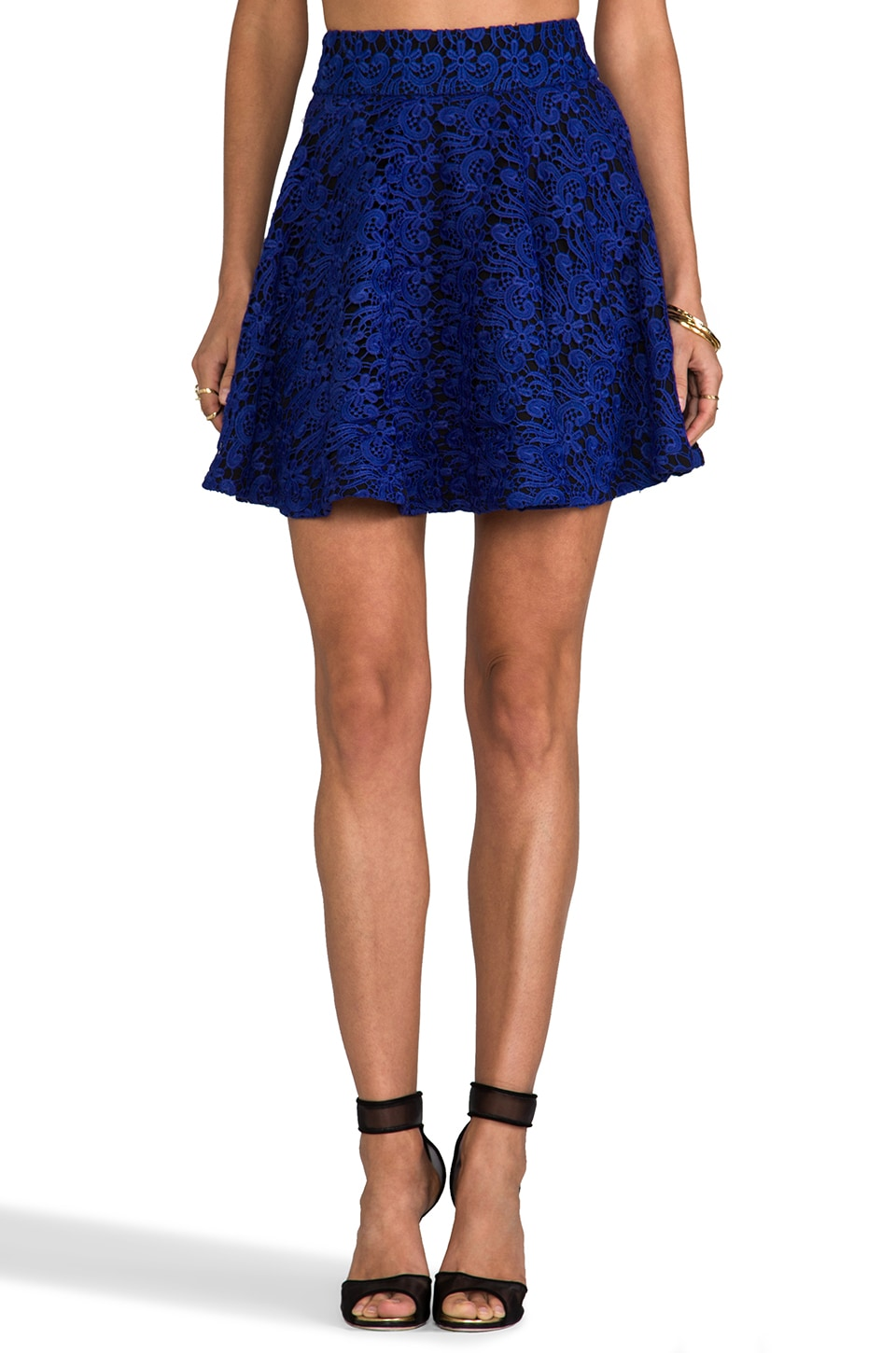 Line & Dot Layered Lace Full Skirt in Cobalt