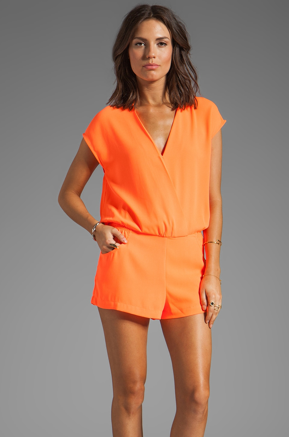 Line & Dot Romper in Fanta Orange
