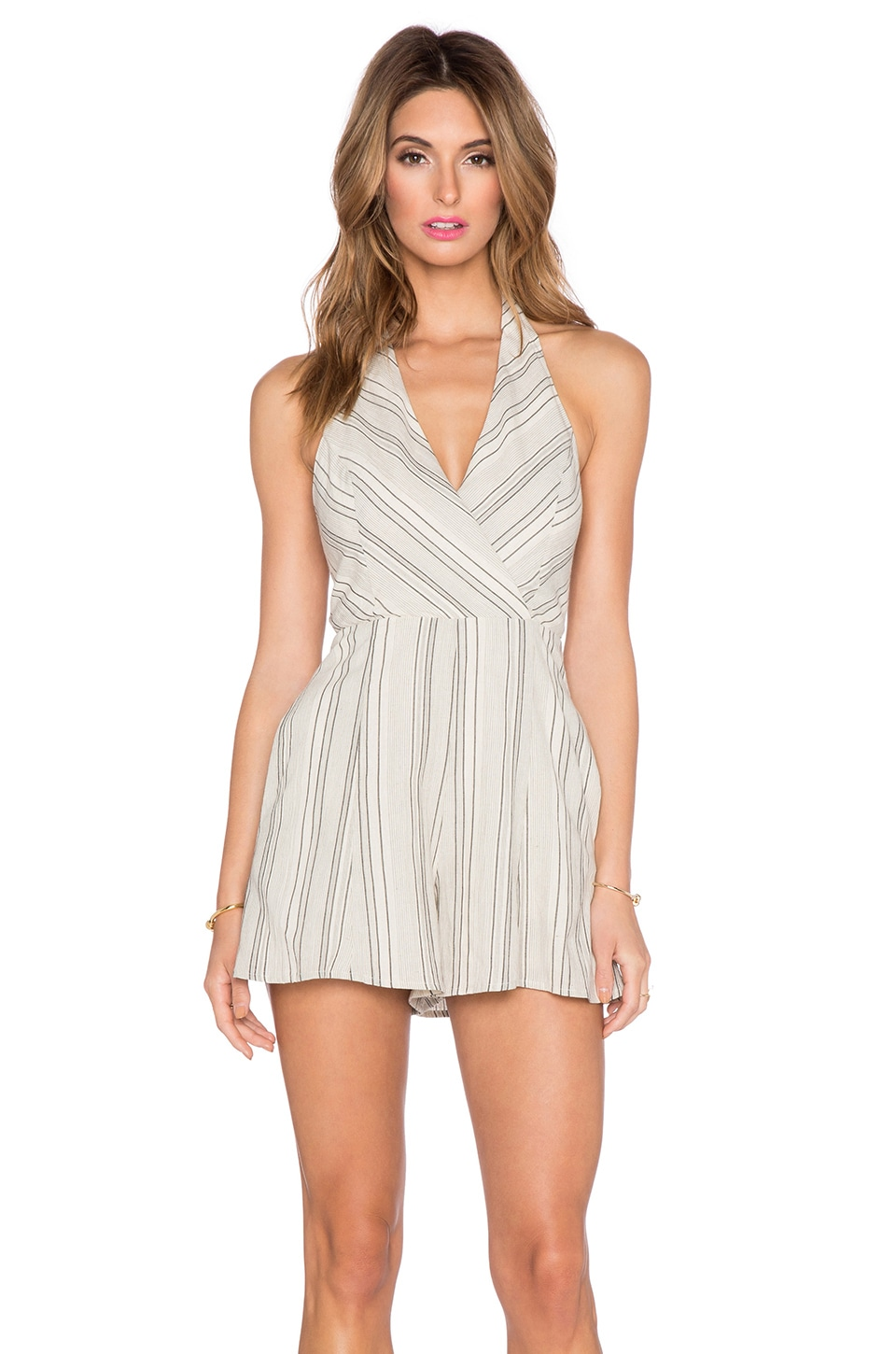 Line & Dot Linear Romper in Black Stripe