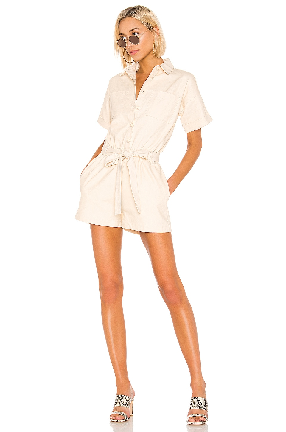 Line & Dot Roi Romper in Cream