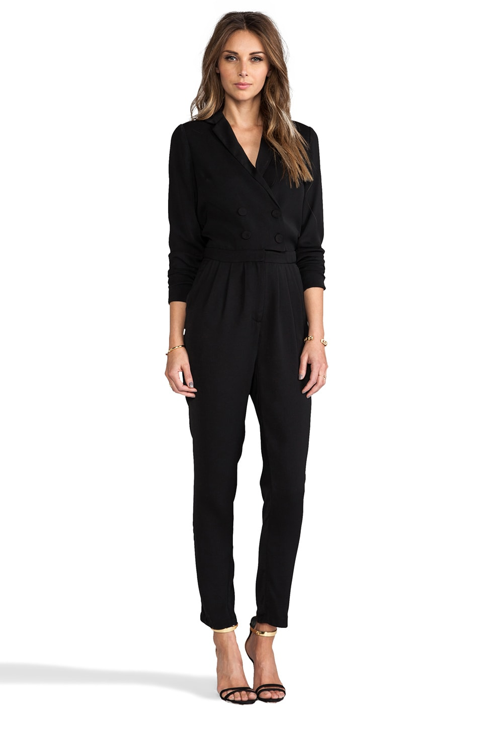 Line & Dot Double Breasted Jumpsuit en Noir