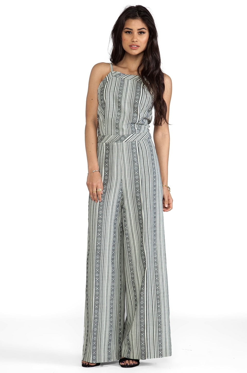 Line & Dot Deep V Jumpsuit in Mojave Stripe