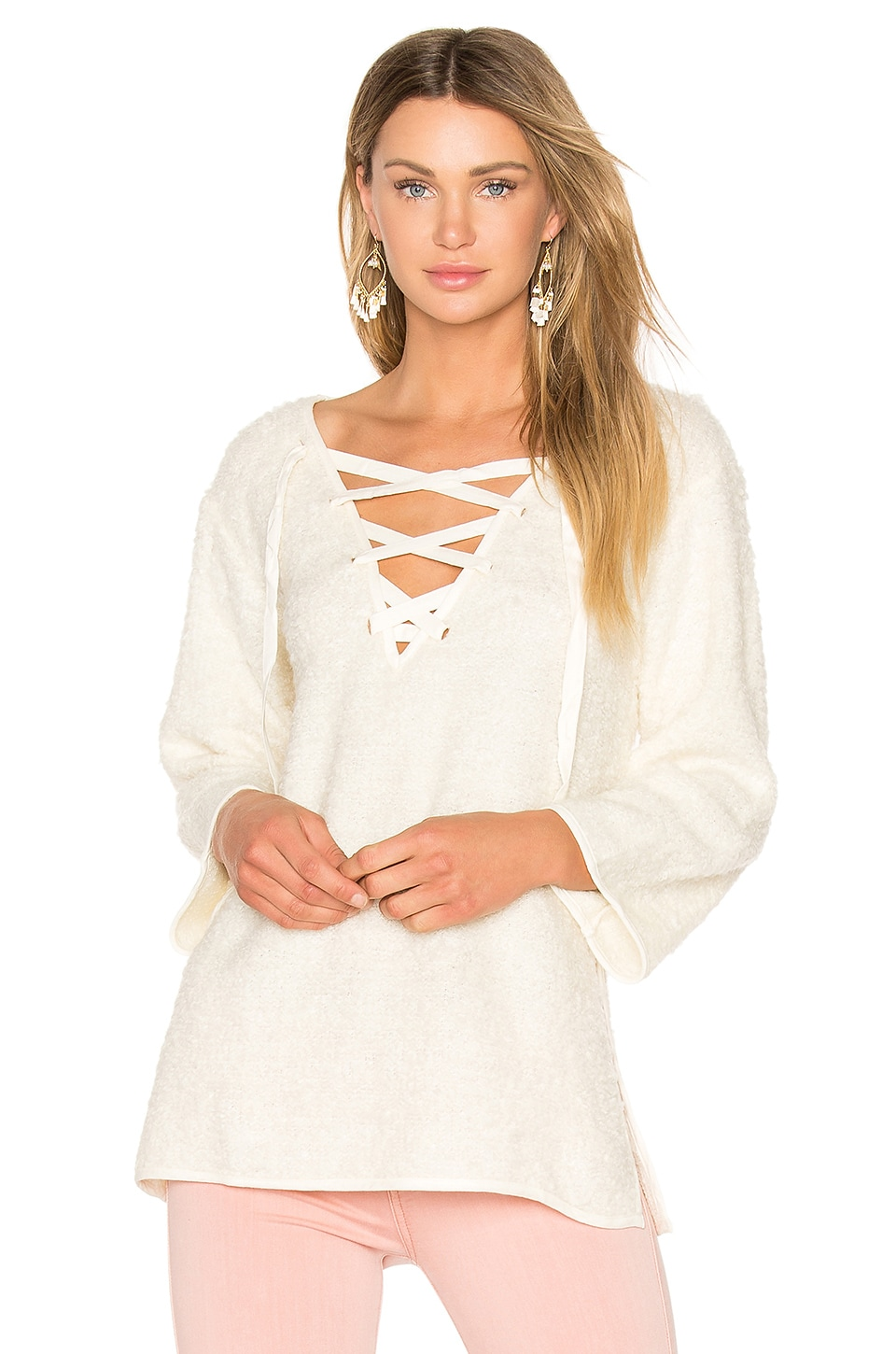 Line & Dot Larch Lace Up Top in Cream