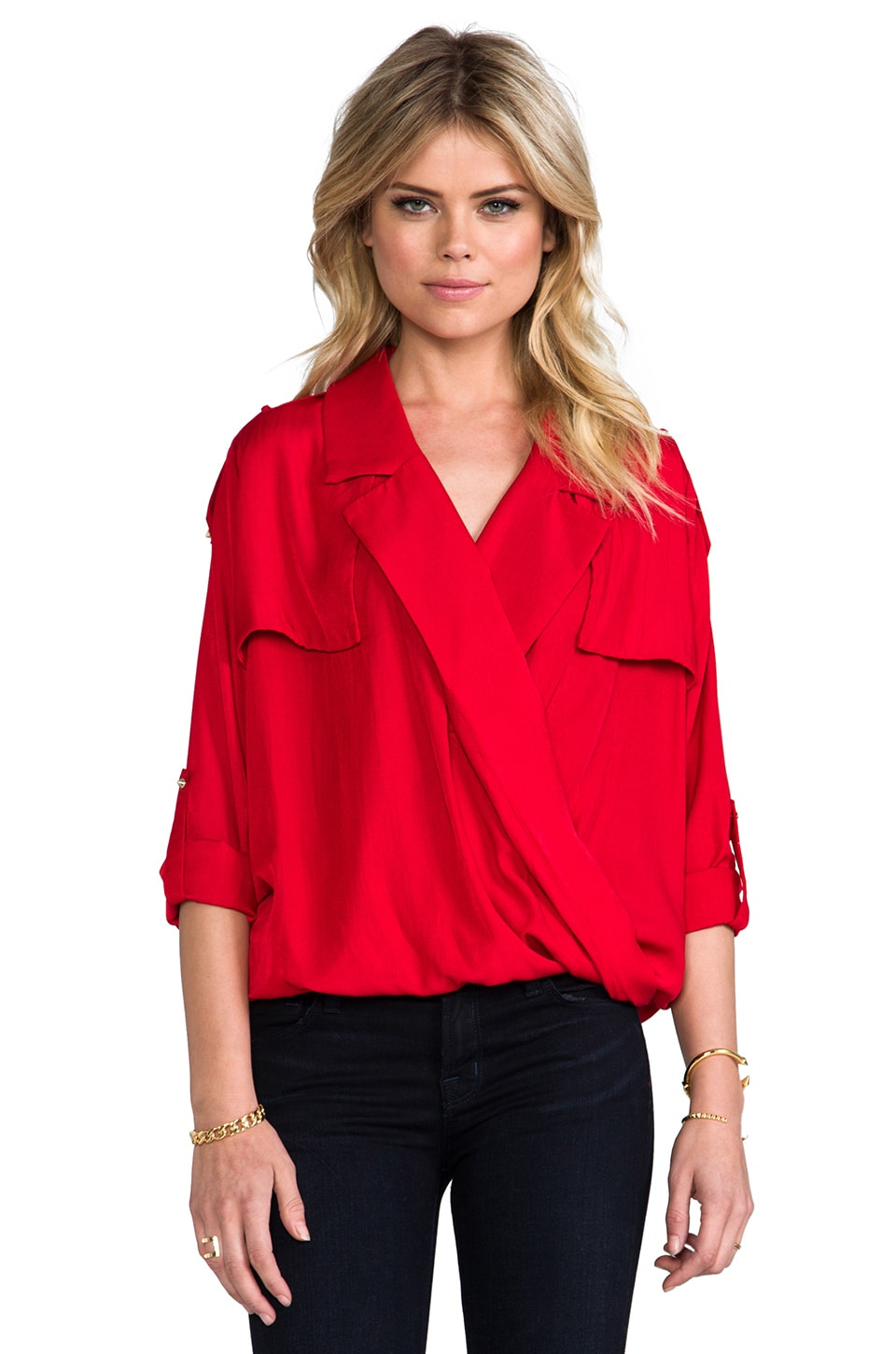 Line & Dot Overlap Shirt in Red