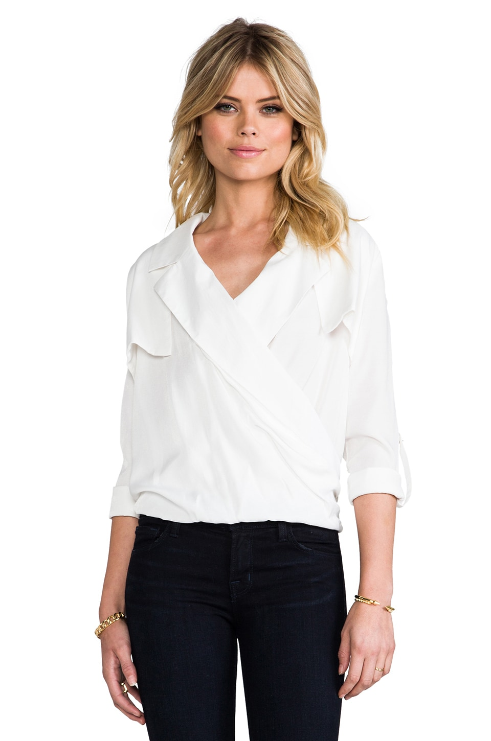 Line & Dot Overlap Shirt in White