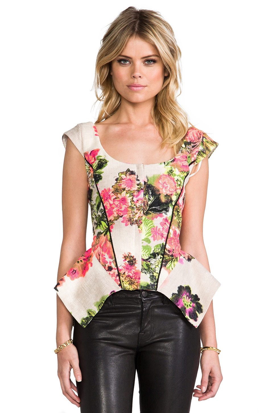 Line & Dot Organic Slim Bustier Top in Botanical Garden