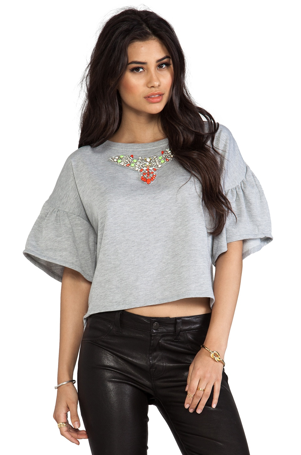 Line & Dot Embellished Terry Top in Heather Grey