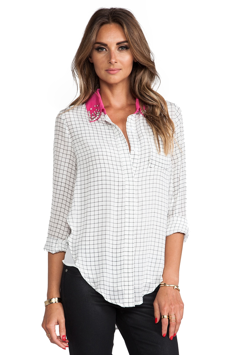 Line & Dot Embellished Collar Shirt in Grid Paper