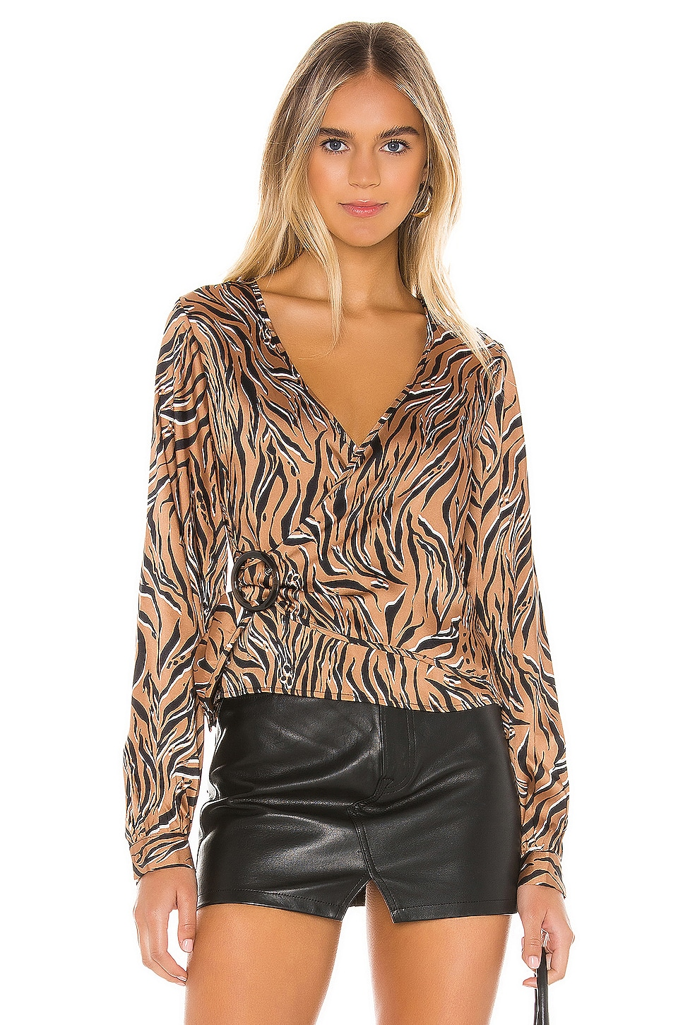 Line & Dot Liv Wrap Around Top in Camel & Black