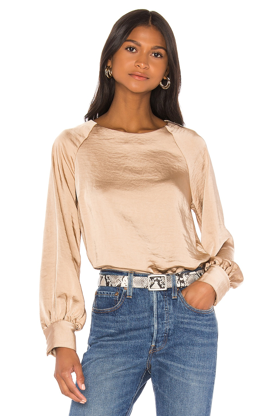 Line & Dot Satin Top en Toffee