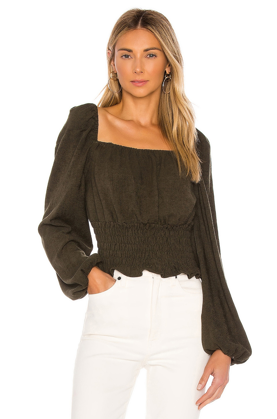 Line & Dot Carmen Cinched Waist Blouse in Olive