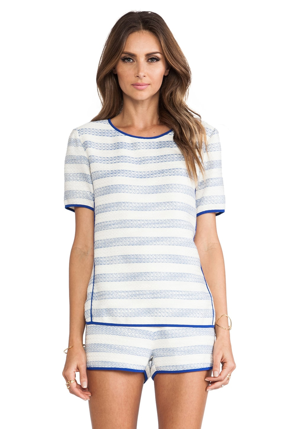 Line & Dot Contrast Binding Top in Sky Stripe
