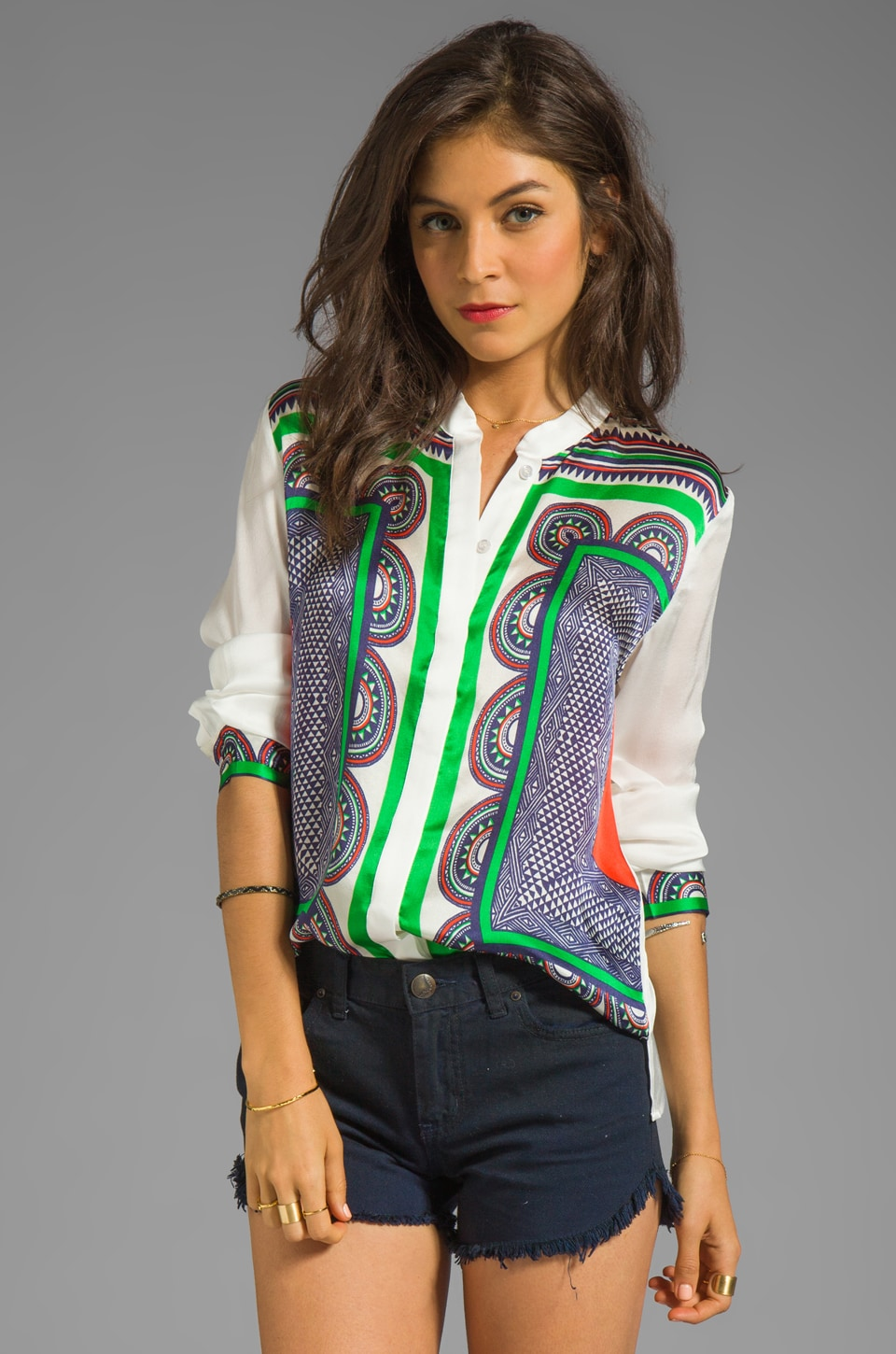 Line & Dot Stand Collar Blouse in Nautical Yacht Club