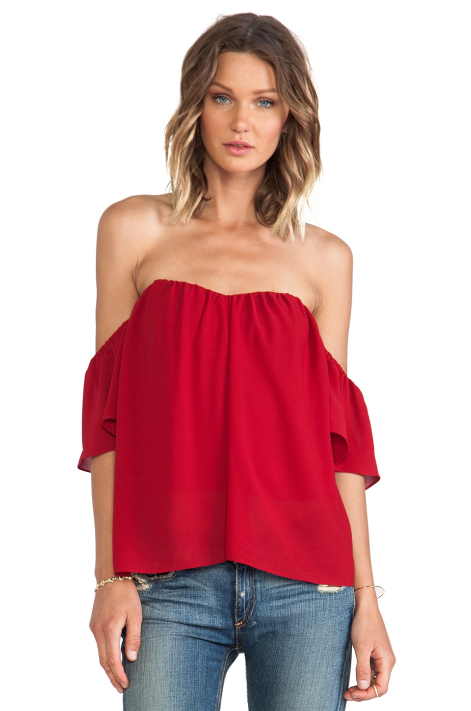 Line & Dot Blonde Ambition Flutter Top in Maroon
